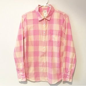 J. Crew Perfect Shirt in Wide Pink Check